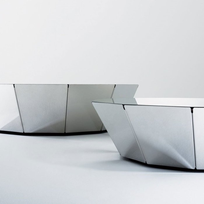 Basalto 12 Mirror top table with stainless steel base By Gallotti and Radice