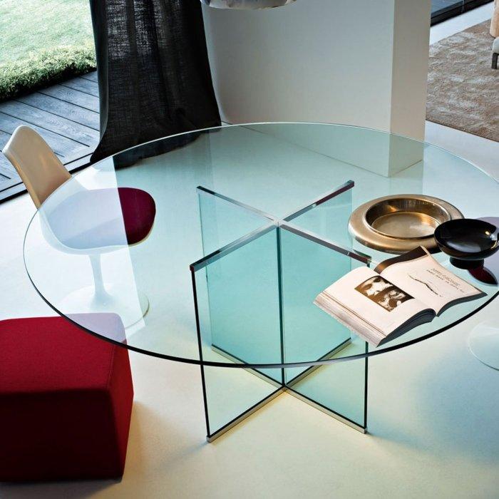 Eros All Circular Glass Table by Gallotti & Radice
