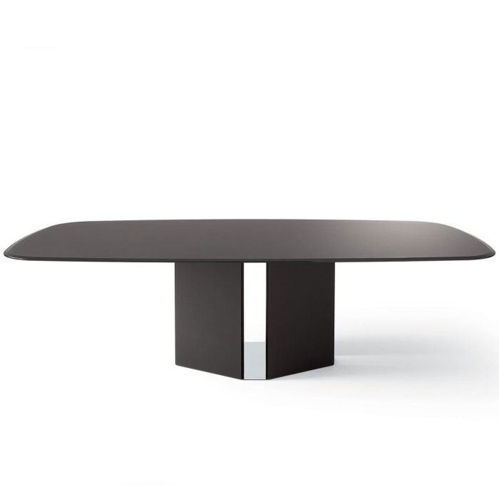 Eyl Black Glass Dining Table by Gallotti & Radice