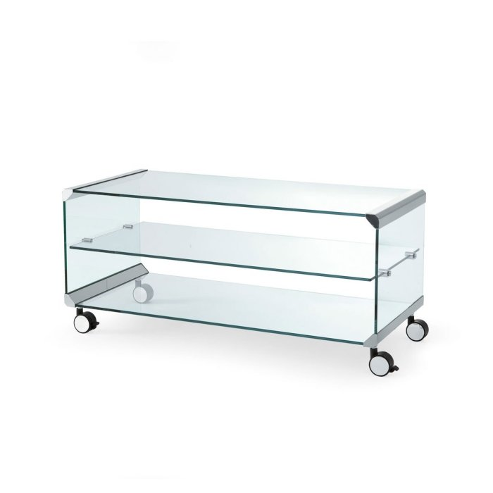 George 1 Glass and Metal Coffee Table with Castors by Gallotti & Radice