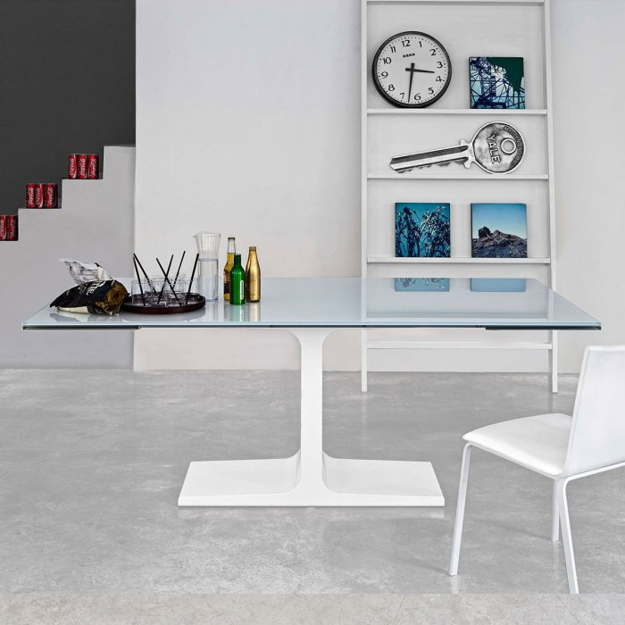 glass and metal dining table