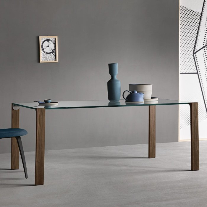 livingstand glass and wood dining table tonelli