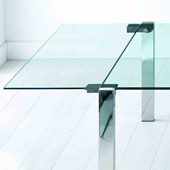 Livingstone Glass Dining Table by Tonelli metal leg detail