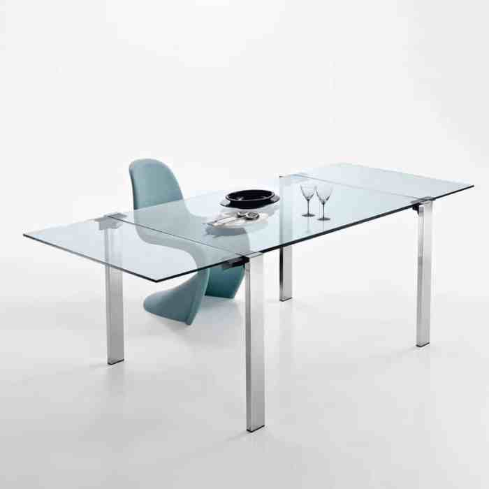 Livingstone Glass Dining Table by Tonelli metal leg with clear glass