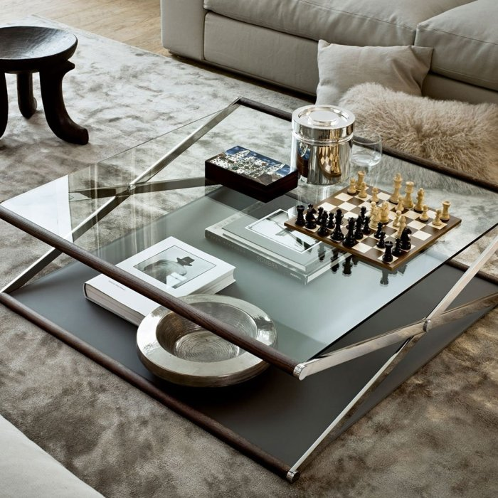 Nox Glass Wood and Metal Coffee Table by Gallotti & Radice