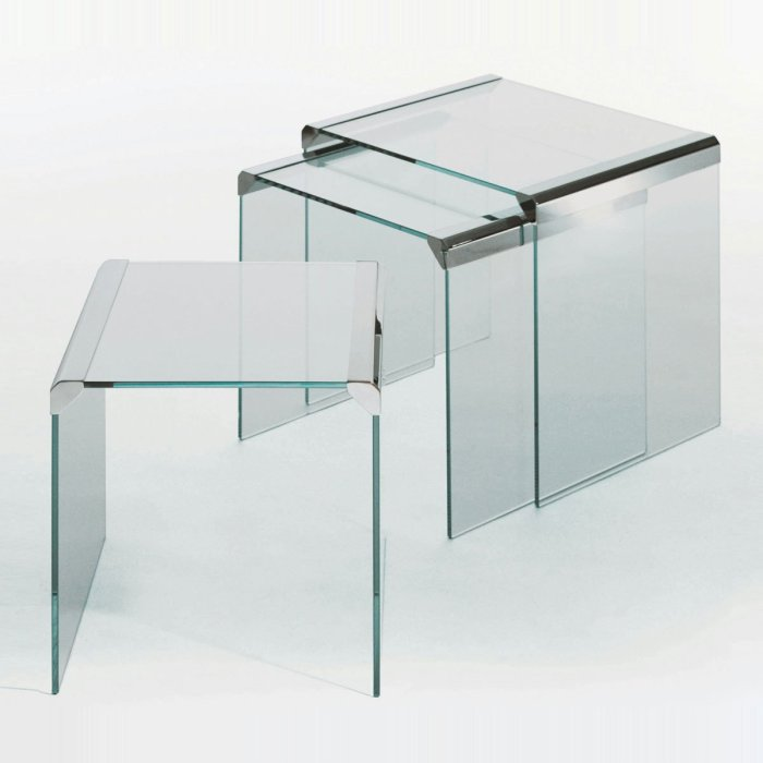 T35 Trio Nesting Glass and Metal Coffee table by Gallotti & Radice