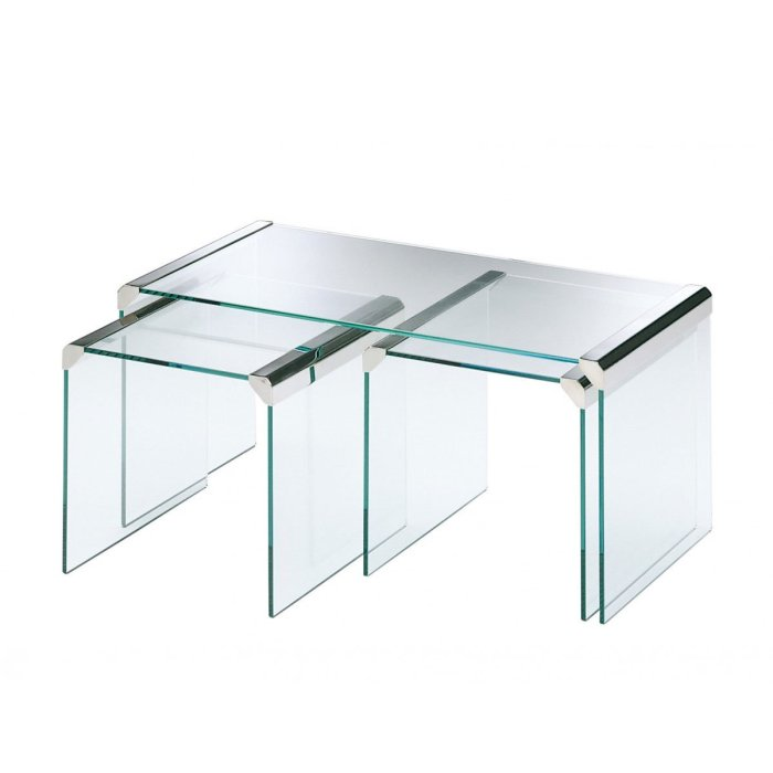T35R Nesting Glass and Metal Coffee table by Gallotti & Radice