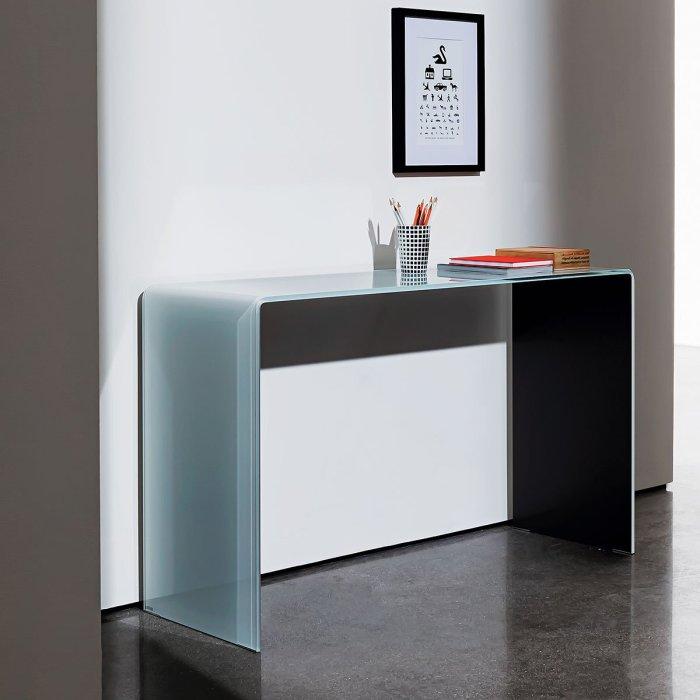 bridge glass console table