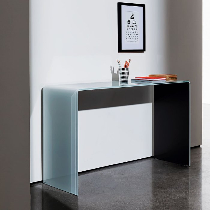 bridge glass console table