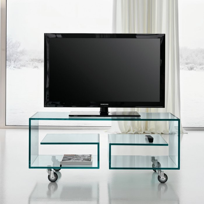 flo glass tv stand