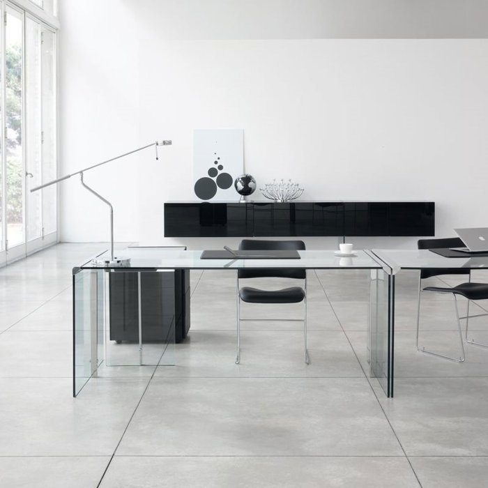 glass desk by gallotti and radice