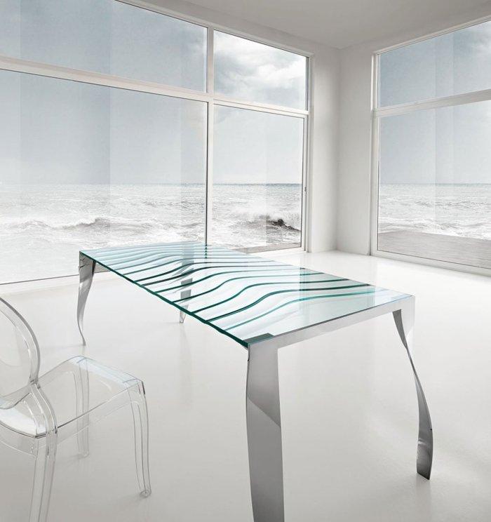 Tonelli design glass dining table luz de luna