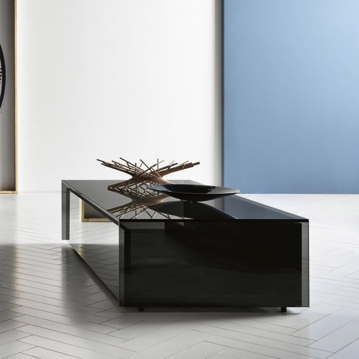 gotham smoked glass coffee table by tonelli