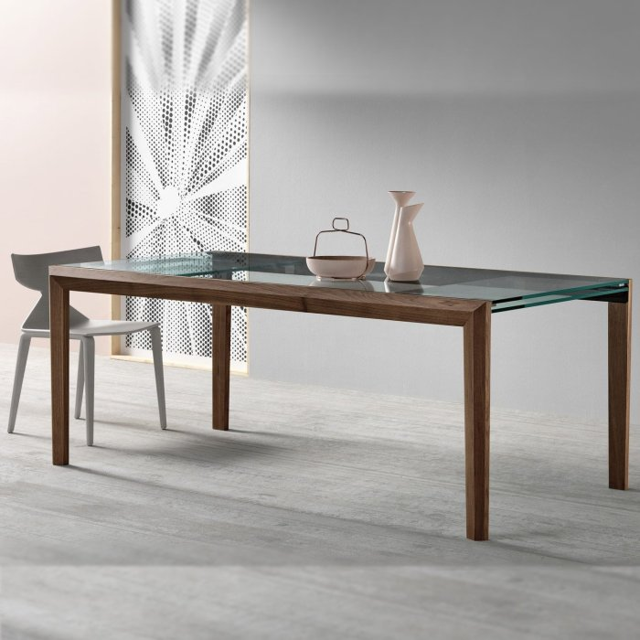 lapsus-glassand wood dining table by tonnell