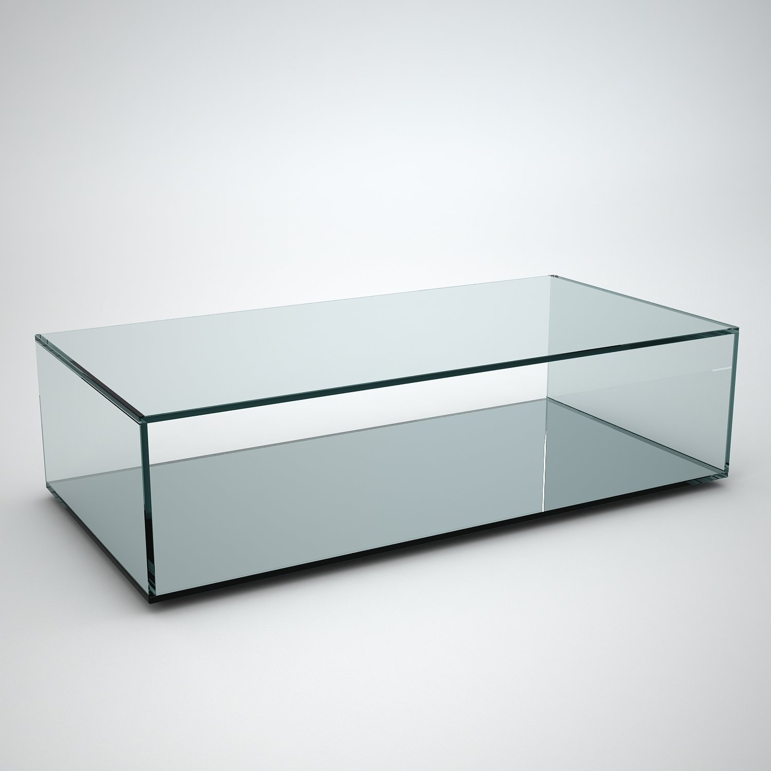 quebec rectangular glass coffee table with mirror base