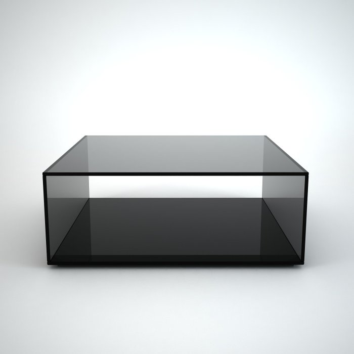 Square black glass coffee table