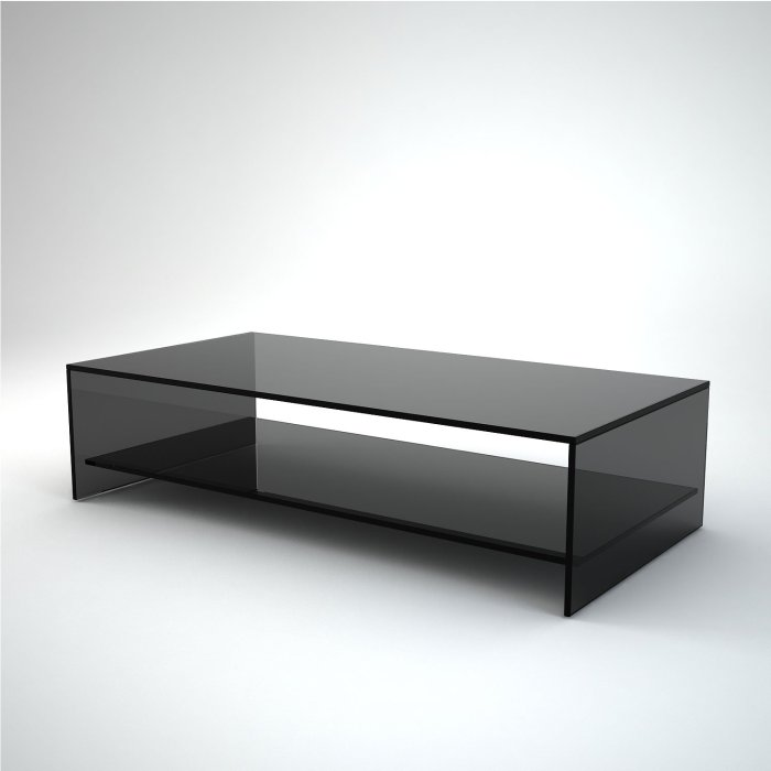 rectangular black glass coffee table