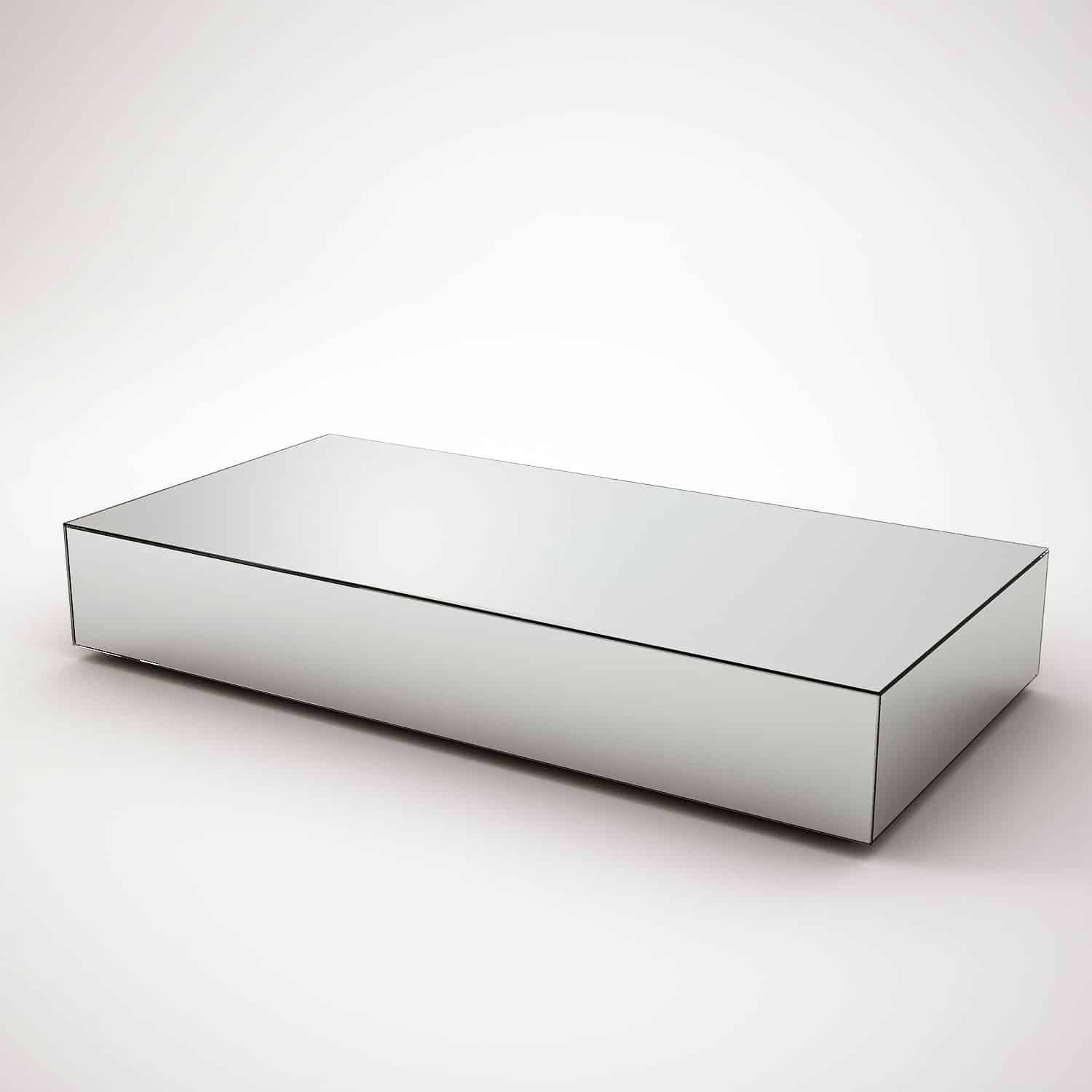 Rectangular mirrored coffee table by mirrorbox klarity for Mirrored rectangular coffee table