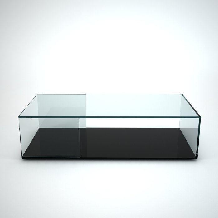 tifino glass coffee table with black base