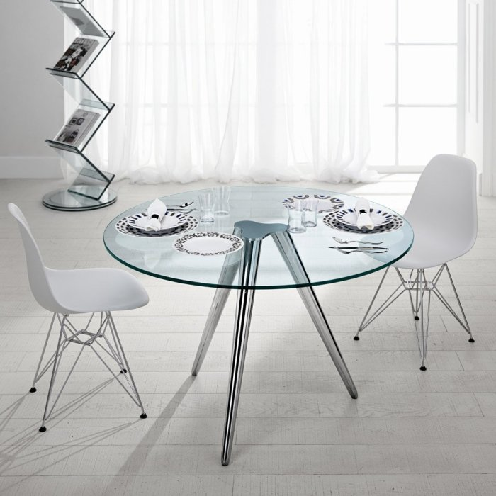 unity round glass table by tonelli