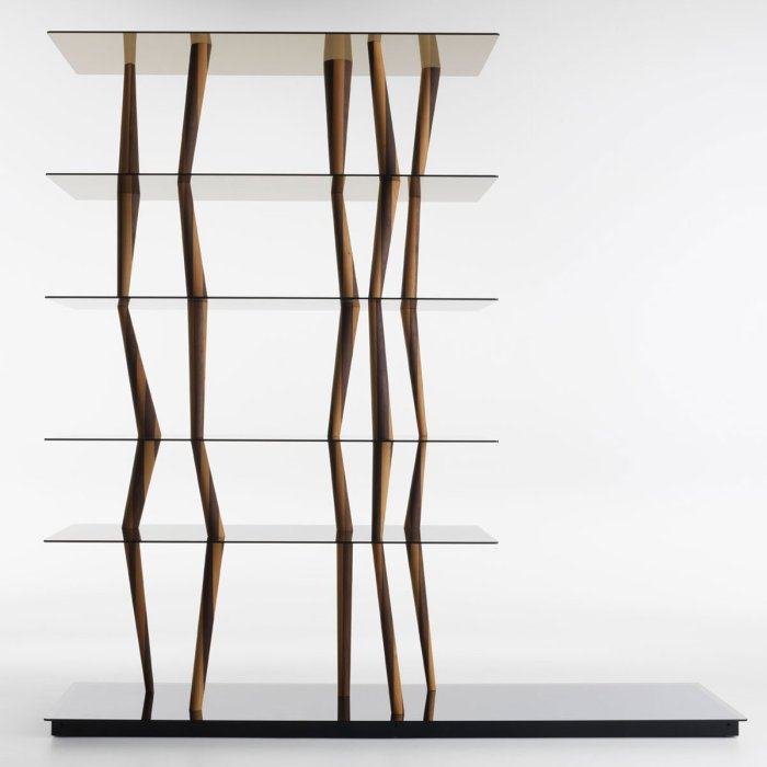glass and wood shelving