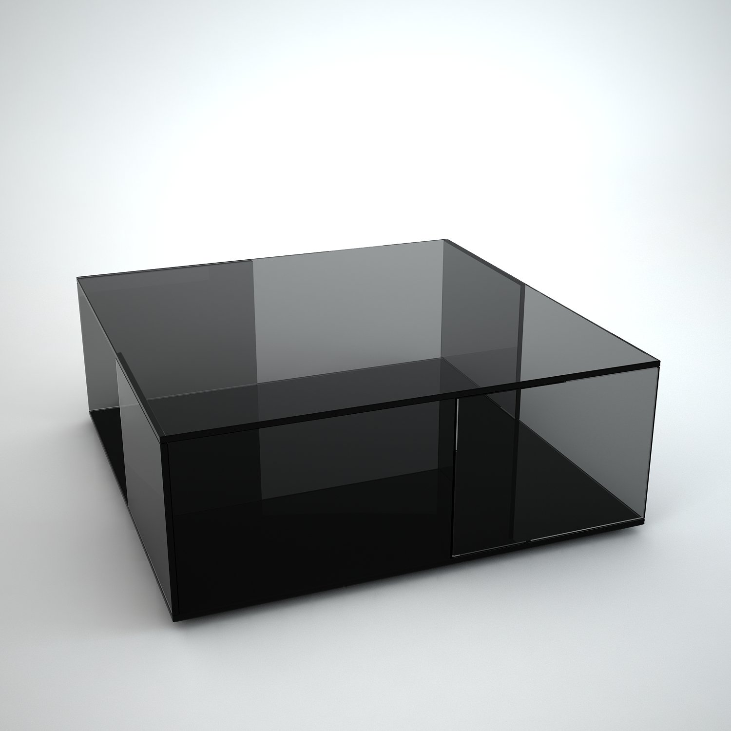 Tifino Square Grey Tint Glass Coffee Table By Klarity