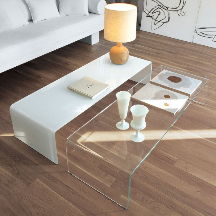 Bridge Curved Glass Coffee Table by Sovet Italia