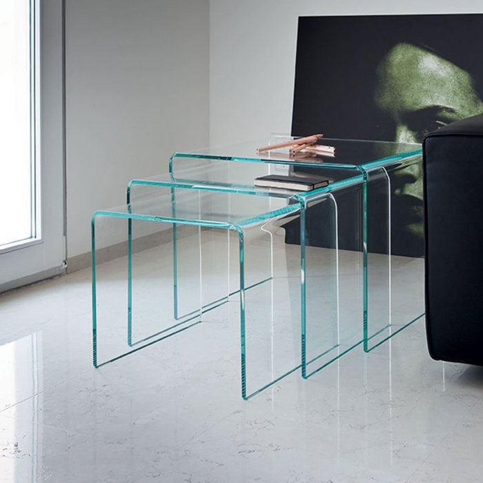 Bridge Curved Glass Nest of Tables by Sovet Italia