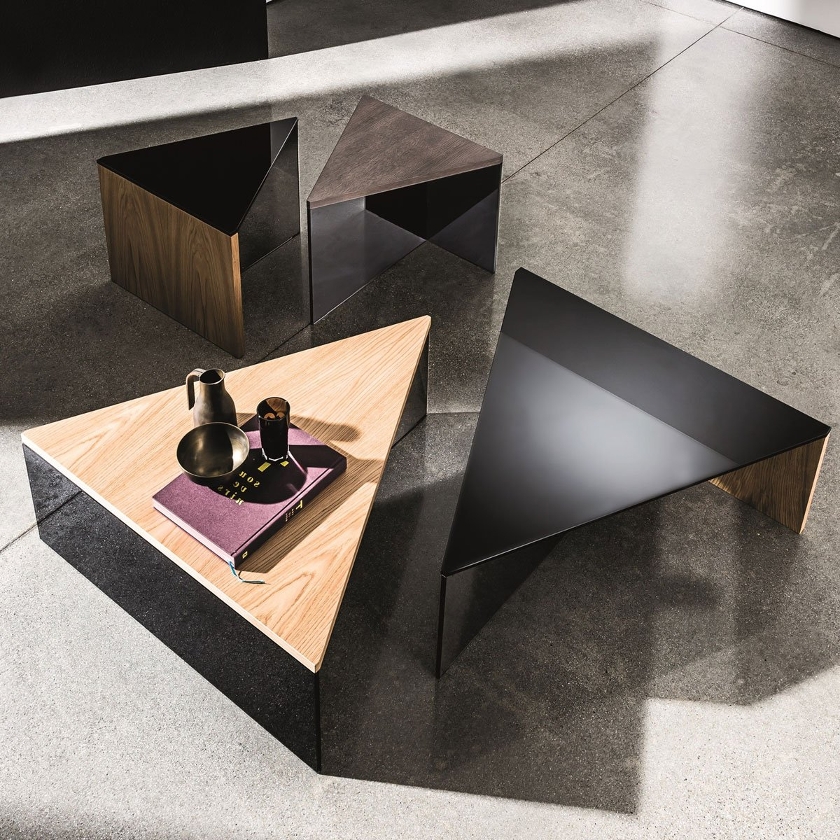 Regolo Triangular Glass and Wood Coffee Table