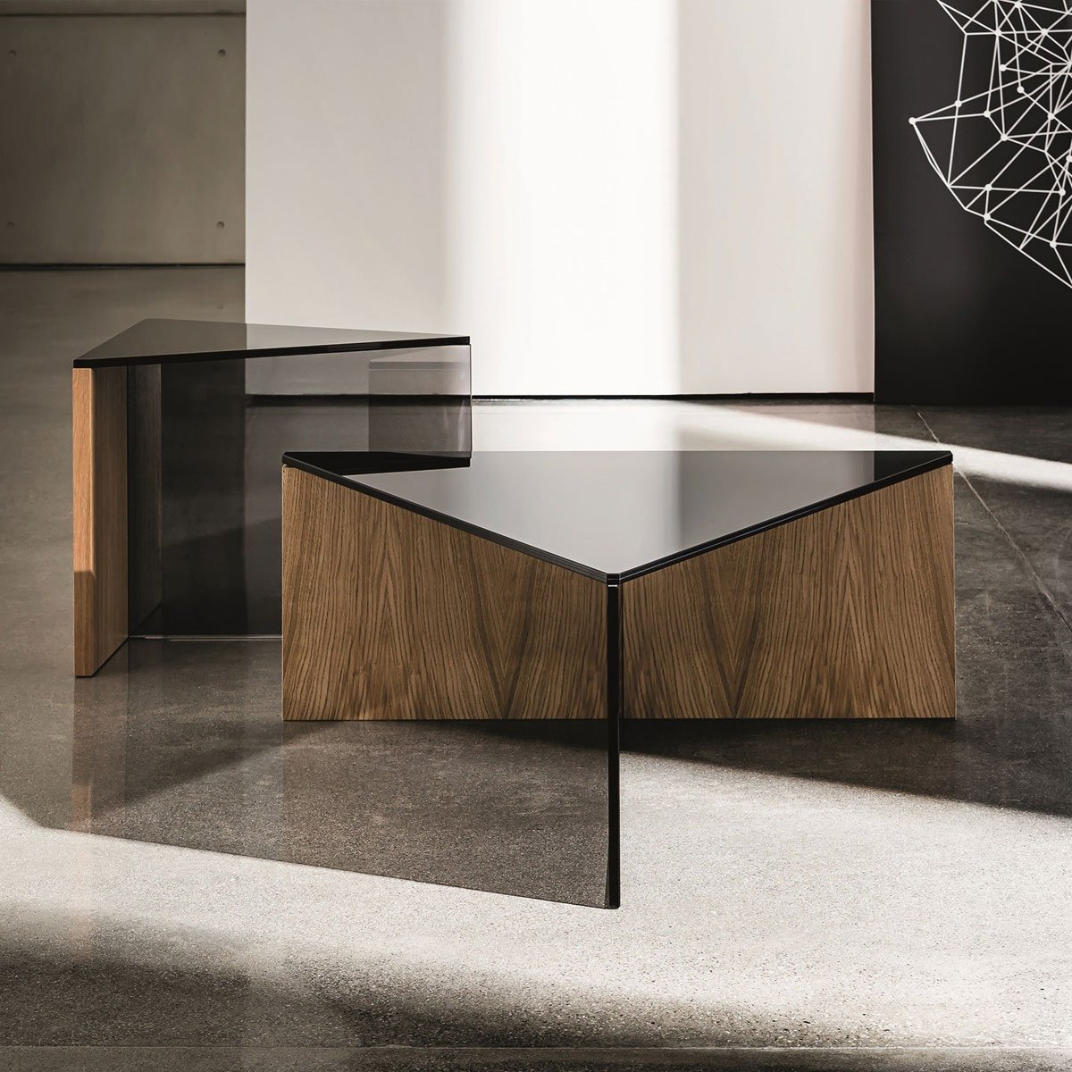Metal Square Coffee Table With Glass Top And Triangular: Regolo Triangular Glass And Wood Coffee Table