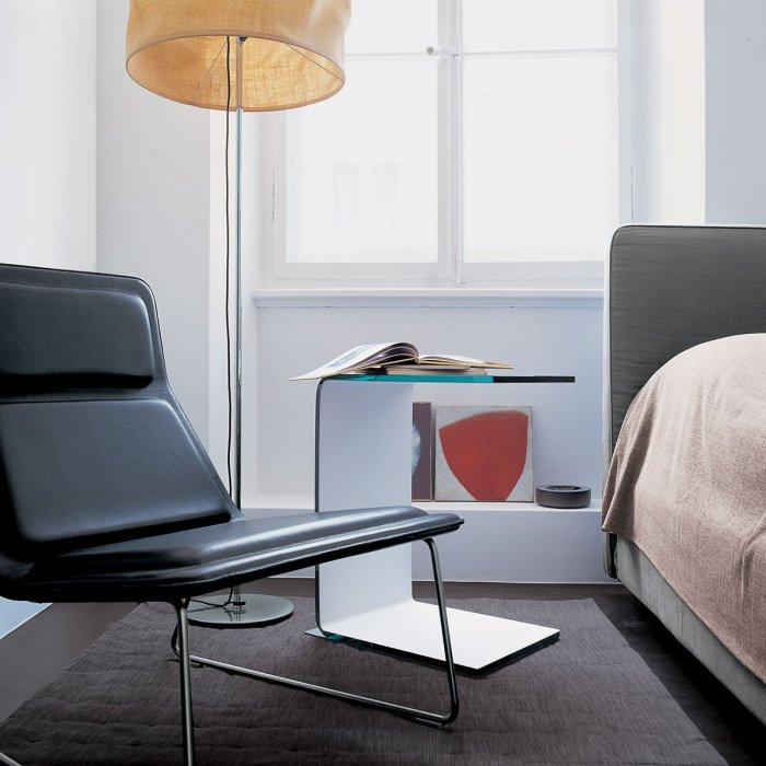 Swan Curved Glass Side Table (All Coloured) by Sovet Italia