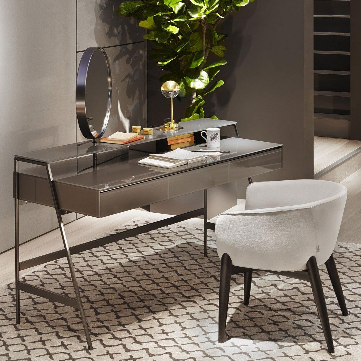 Venere Glass Desk with Mirror Gallotti & Radice