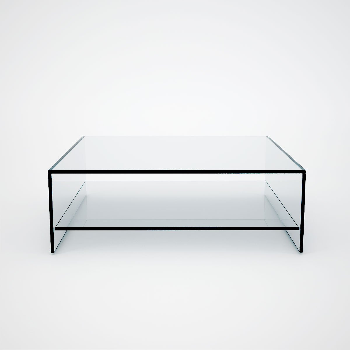 Square Glass Coffee Table Shelf Klarity Glass Furniture