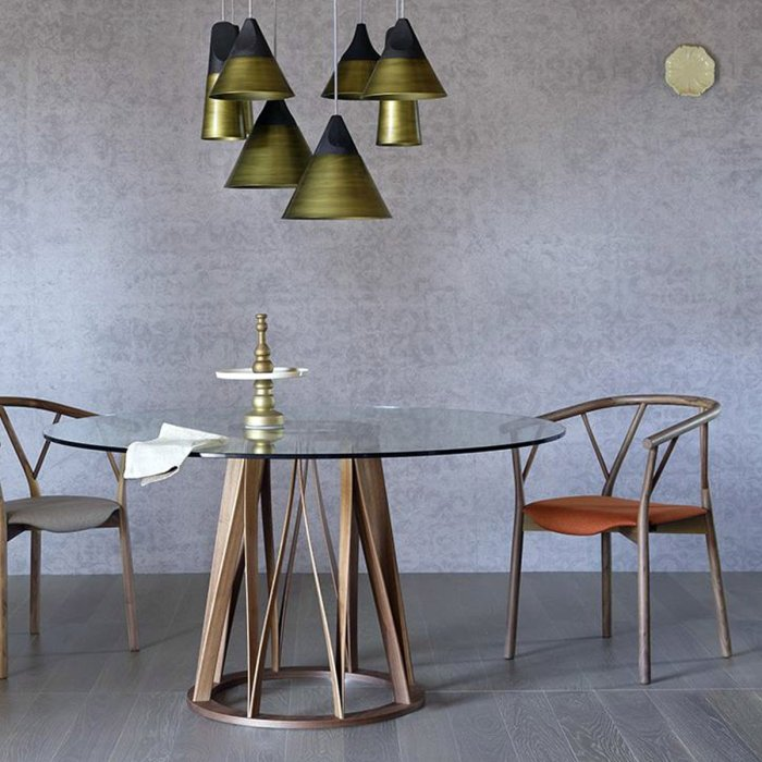 acco round wood & glass dining table