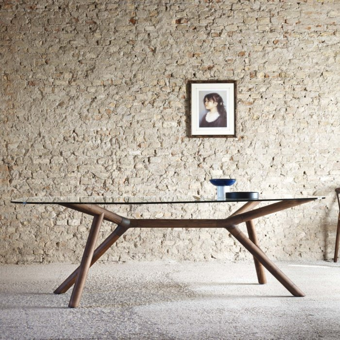 otto wood and glass dining table