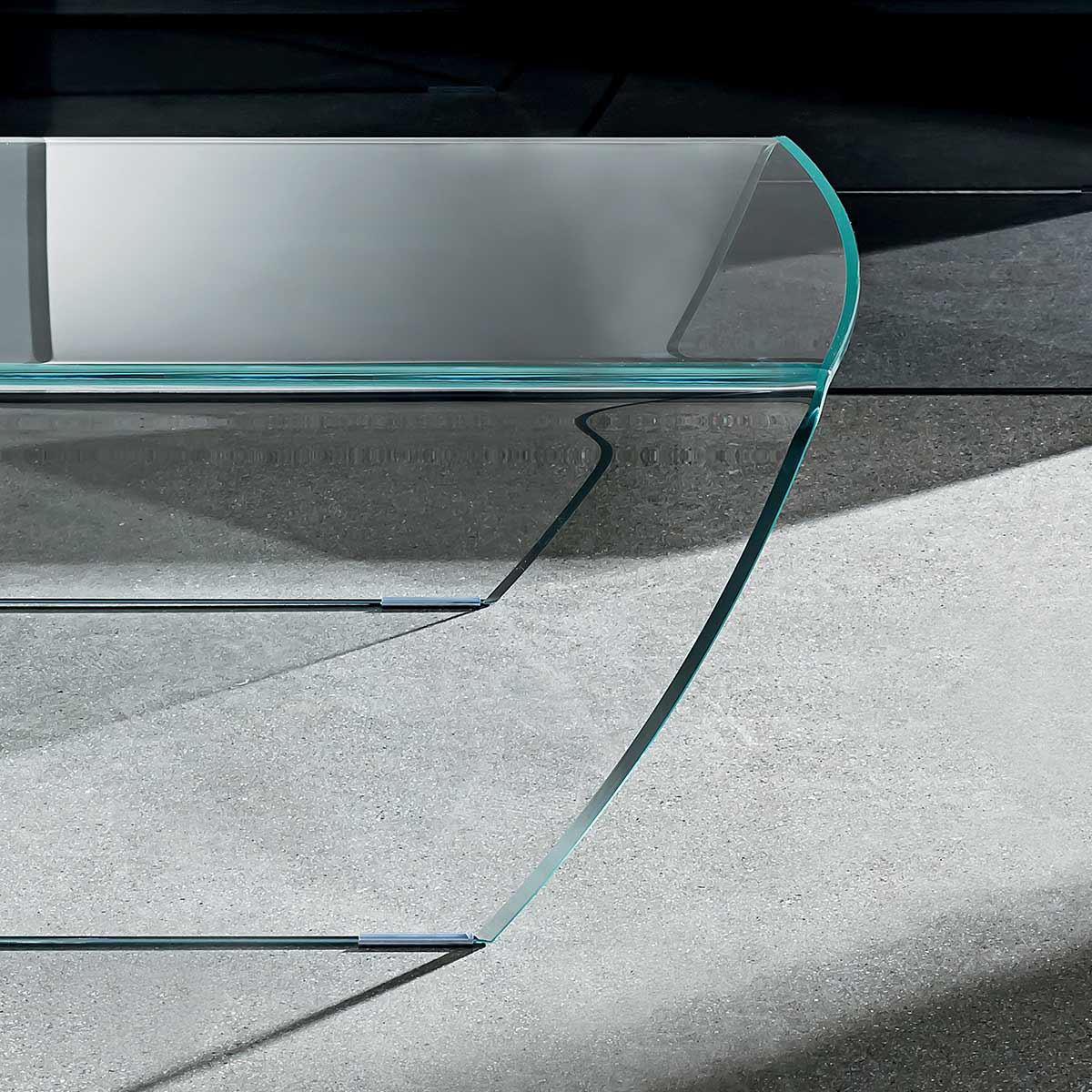 Taky Curved Glass Coffee Table