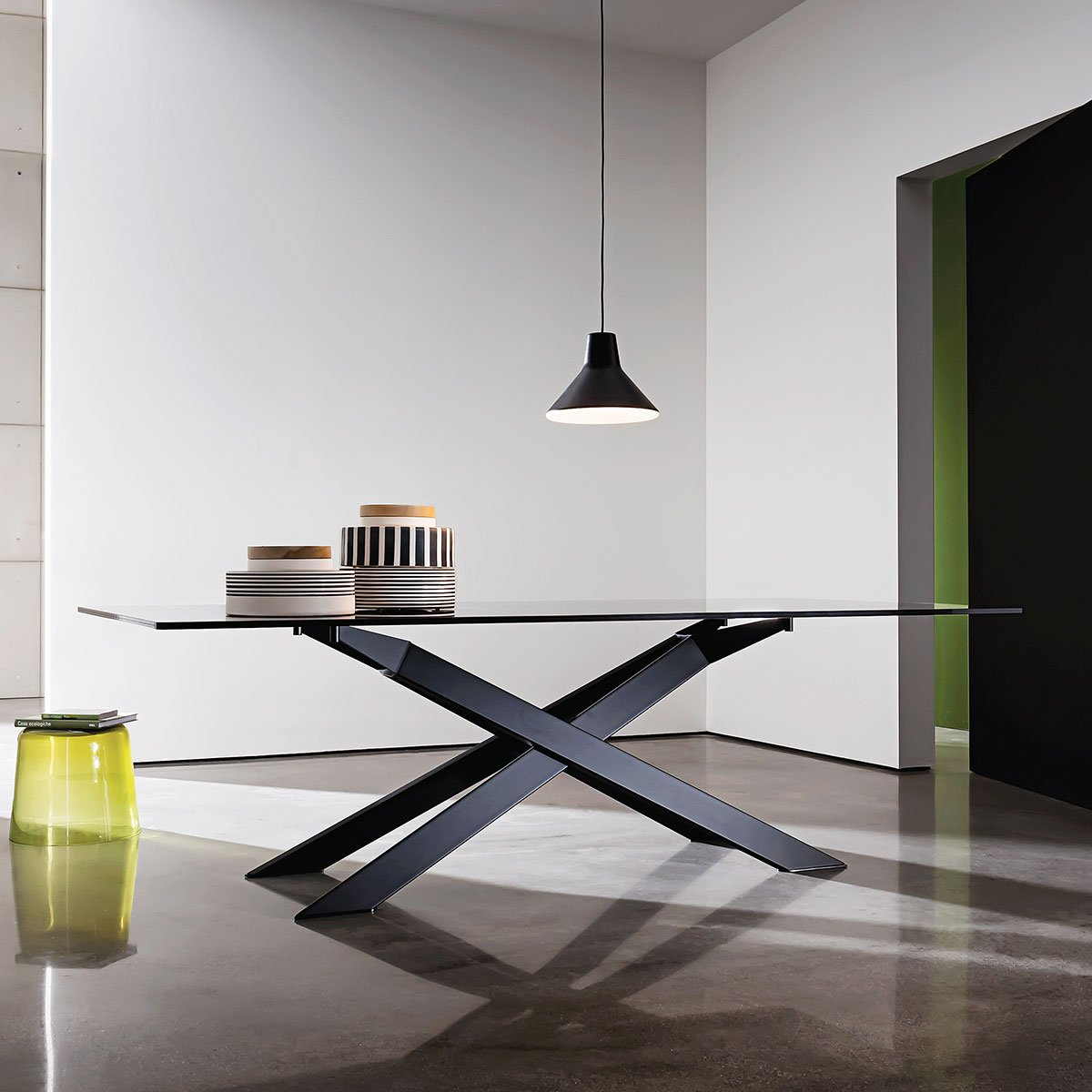 cross metal and glass dining table