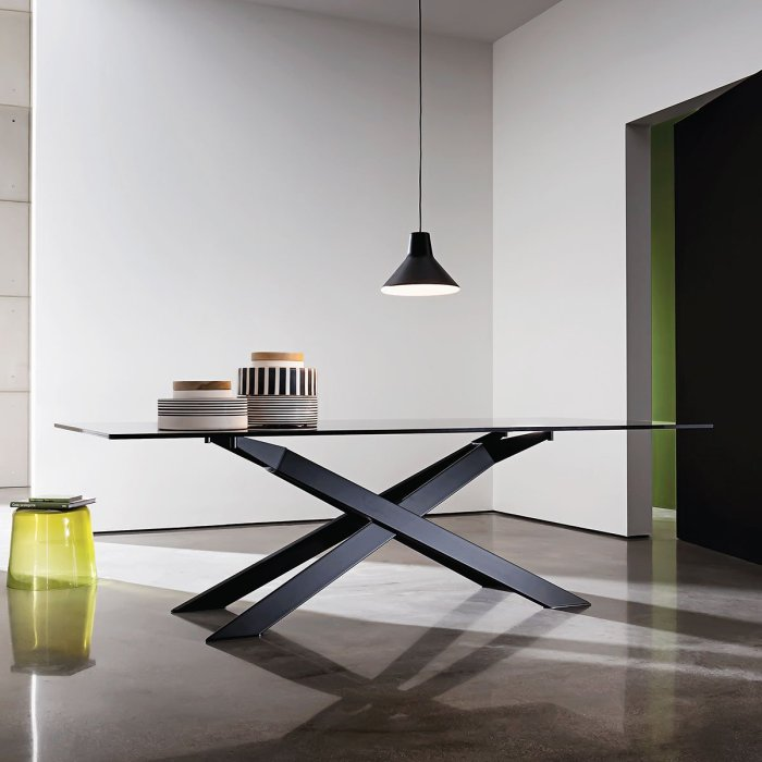 metal table with glass top cross sovet italia