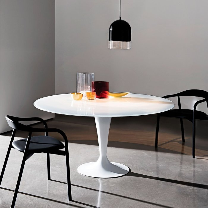 tulip base and glass top dining table