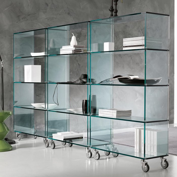 liberia tonelli glass storage unit on castors