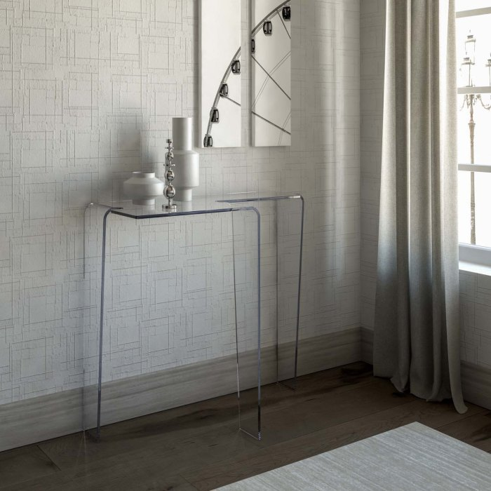 contemporary glass console table