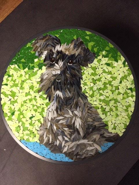 Mosaic Glass Art On Patio Table