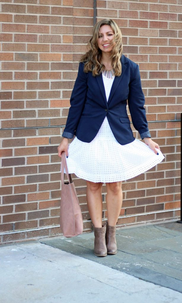 little white dress re-styled for fall, JustFab reversible tote, JustFab booties, and an H&M blazer