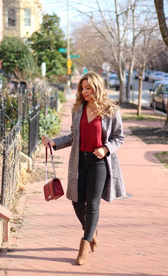 Lifestyle Blogger Glass of Glam wearing SheIn coat, Lush top, Rebecca Minkoff bag, and Old Navy Denim