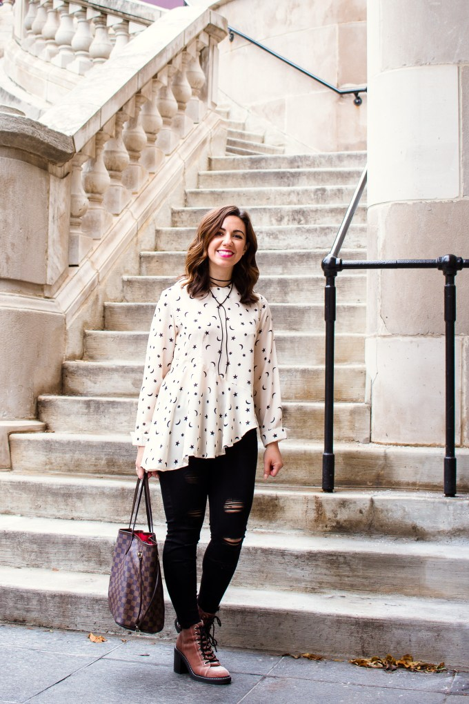 Asymmetric top with star print by popular Chicago fashion blogger Glass of Glam