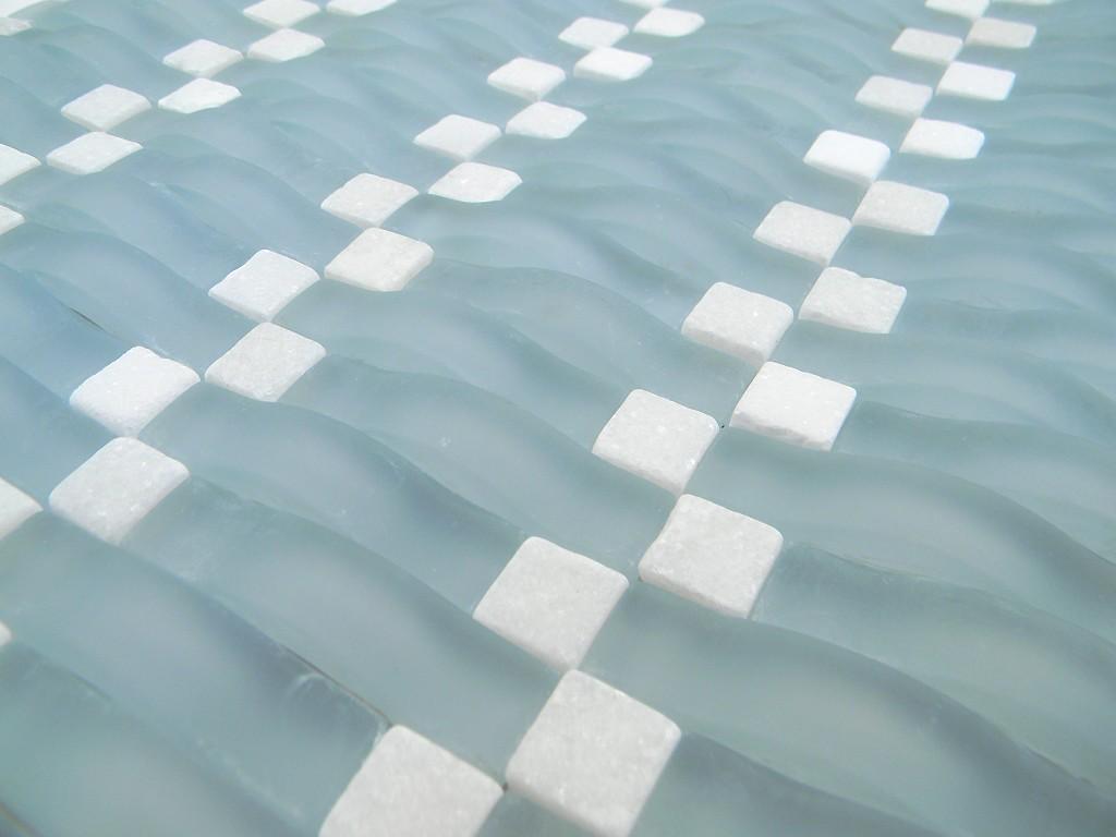 frost blue wavy glass mosaic