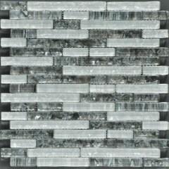Ocean Pearl Grey & White  Random Brick Glass Tile 1