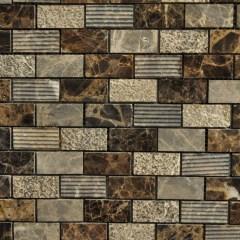 Dark Emperador Marble 1X2 Brick Pattern Mixed Surface 1