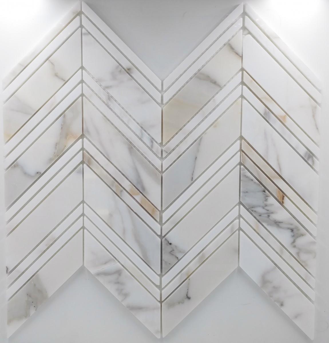 large chevron pattern calacatta collection