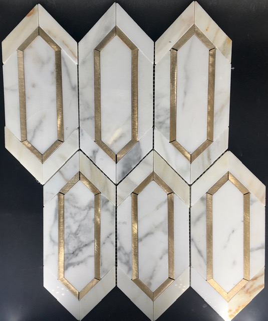 chateau elongated hex calacatta marble with gold color anodized aluminum